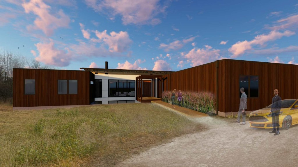 New Modern House 1 - Exterior Rendering - Copperwood