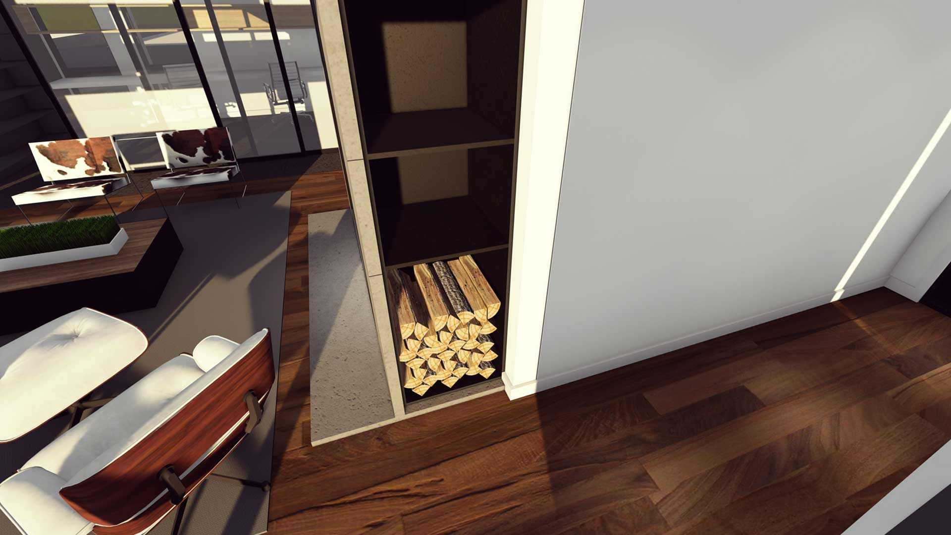 New Modern House Ditch - Interior Detail - HAUS Architecture, Christopher Short, Indianapolis Architect