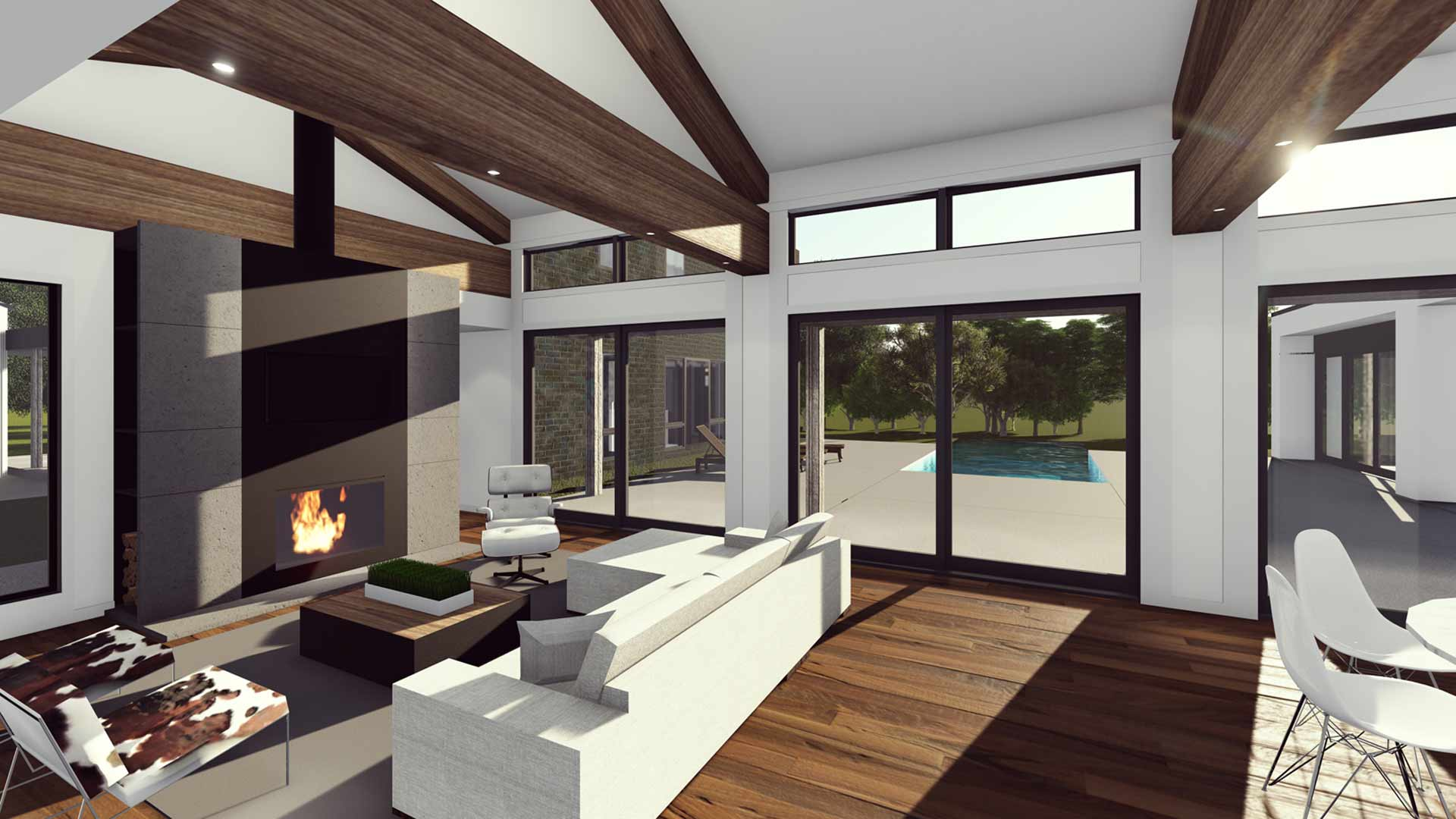 New Modern House Ditch - Interior Rendering - HAUS Architecture, Christopher Short, Indianapolis Architect