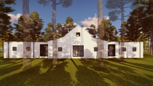 New Modern Farmhouse 3 - East Elevation Rendering - HAUS Architecture, Christopher Short, Indianapolis Architect
