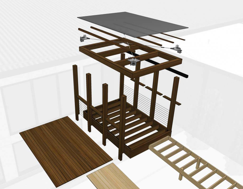 New Modern House 1 - Canopy Kit of Parts - Christopher Short, Architect, Indianapolis, HAUS Architecture