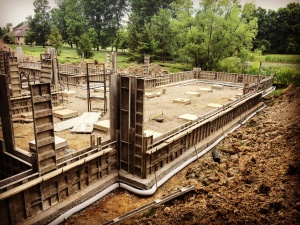New Modern Farmhouse 3 - foundation progress - HAUS Architecture, Christopher Short, Architect