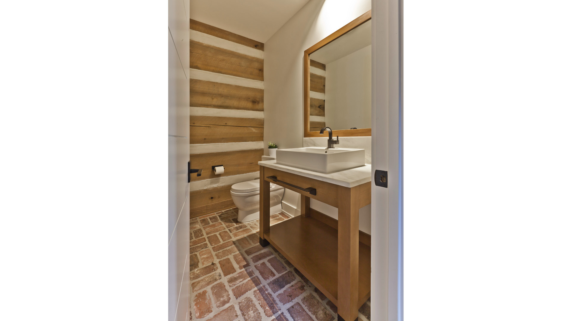 Scandinavian Rustic Cabin - Powder Room East - Christopher Short, Architect, Indianapolis, HAUS Architecture