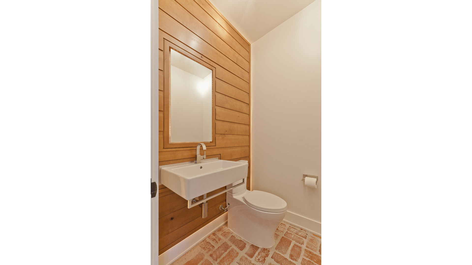 Scandinavian Rustic Cabin - Powder Room West - Christopher Short, Architect, Indianapolis, HAUS Architecture
