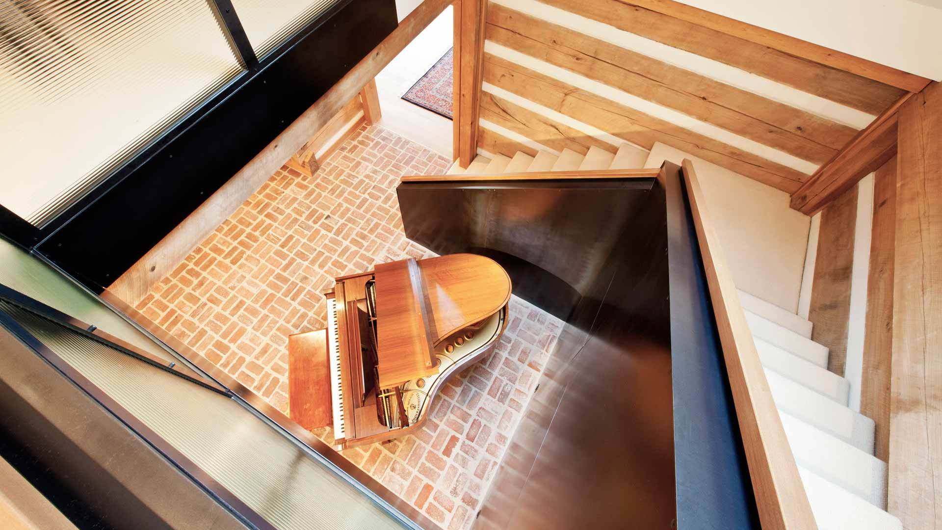 Scandinavian Rustic Interior Cabin - Stair Detail - Christopher Short, Architect, Indianapolis, HAUS Architecture