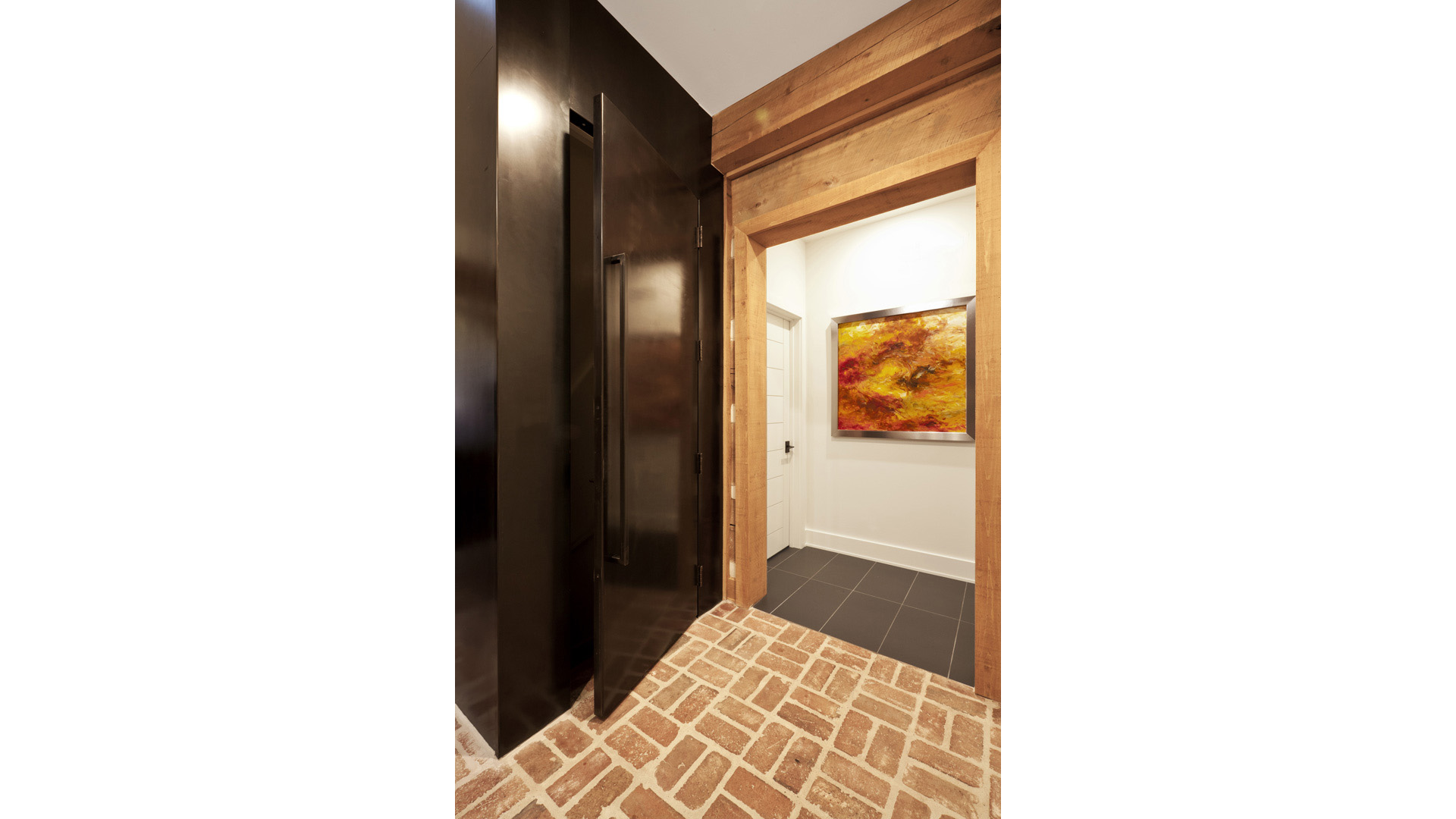 Scandinavian Rustic Cabin - Steel Door - Christopher Short, Architect, Indianapolis, HAUS Architecture