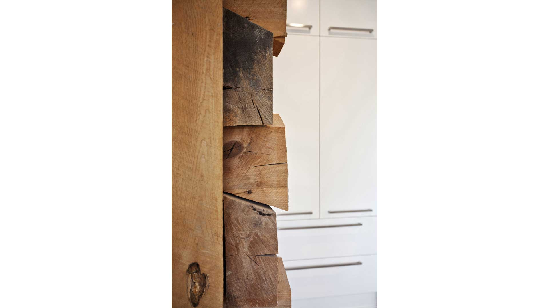 Scandinavian Rustic Cabin - Log Wall Detail
