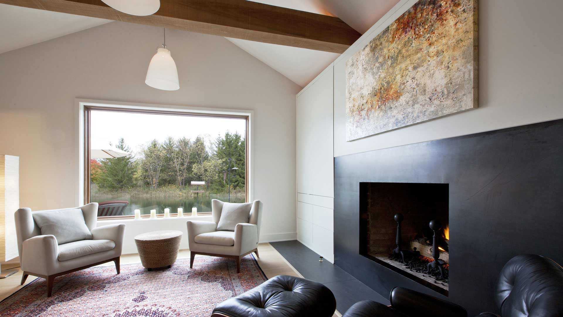 Scandinavian Rustic Cabin - Sitting Room - Christopher Short, Architect, Indianapolis, HAUS Architecture