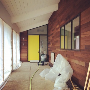 New Modern House Ditch - Midcentury Entry Porch Progress - Christopher Short, Architect, Indianapolis, HAUS Architecture