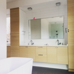 New Modern House Ditch - Master Bathroom Detail - Christopher Short, Architect, Indianapolis, HAUS Architecture
