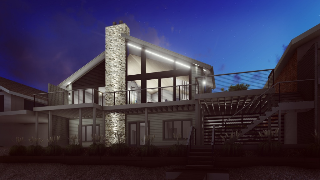 Modern Lakehouse - Clearwater - Lakeside Dawn - Christopher Short, Architect, Indianapolis, HAUS Architecture