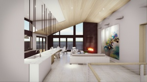 Modern Lakehouse - Clearwater - Interior Living (looking west) - Christopher Short, Architect, Indianapolis, HAUS Architecture