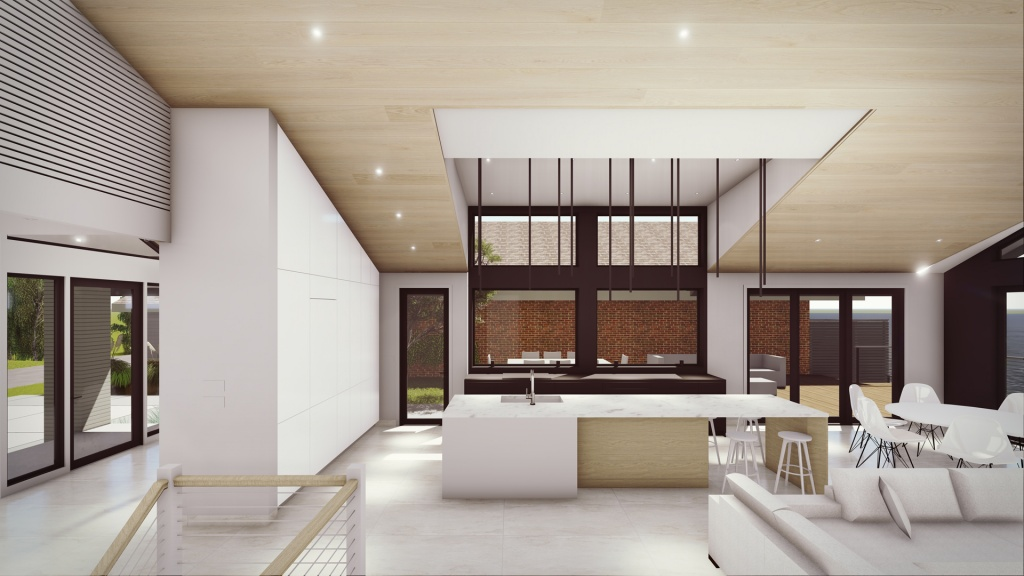 Modern Lakehouse - Clearwater - Interior Living (looking south) - Christopher Short, Architect, Indianapolis, HAUS Architecture