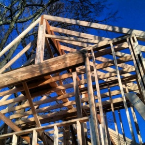 Butler Tarkington Modern Tudor - Old School Framing Progress - WERK Building Modern - HAUS Architecture