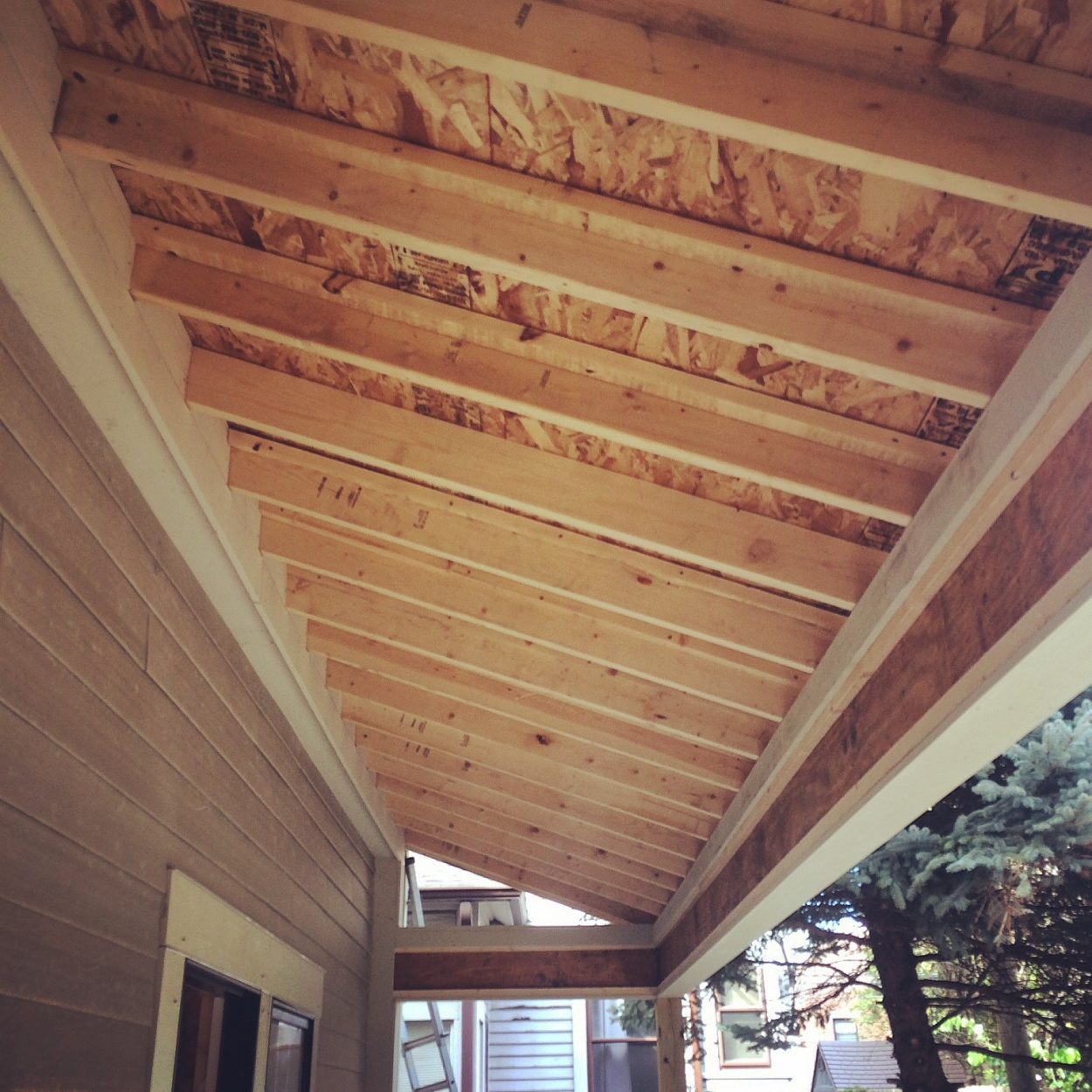 New Carriage House Old Northside Porch Roof Framing Haus