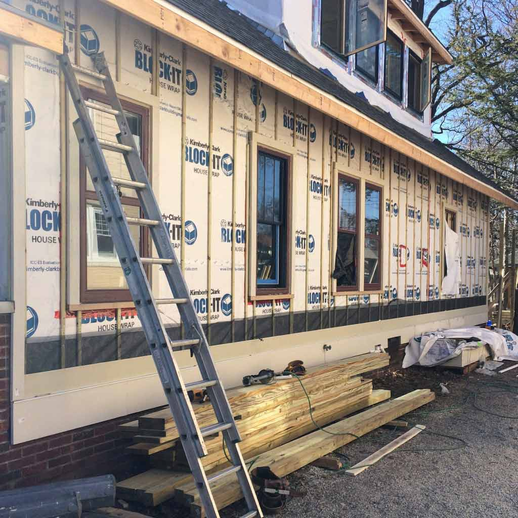 Broad Ripple Modern Craftsman Renovation - Exterior Siding Underway (Rainscreen Detail)