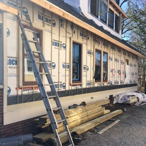 Broad Ripple Modern Craftsman Renovation - Exterior Siding Underway (Rainscreen Detail) - WERK Building Modern, Paul Reynolds
