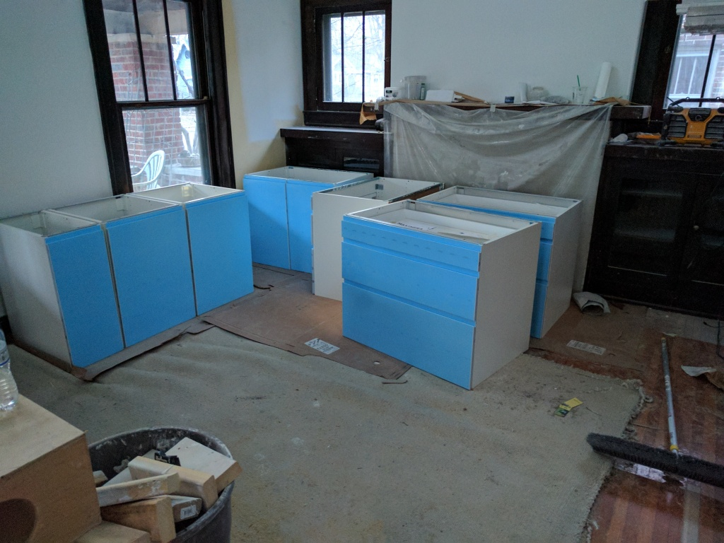 Broad Ripple Modern Craftsman Renovation - Cabinetry Staged For Installation