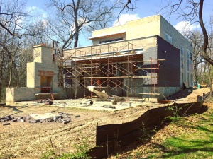 New Modern House 3 - Back Elevation Construction Progress - Christopher Short, Architect, Indianapolis, HAUS Architecture