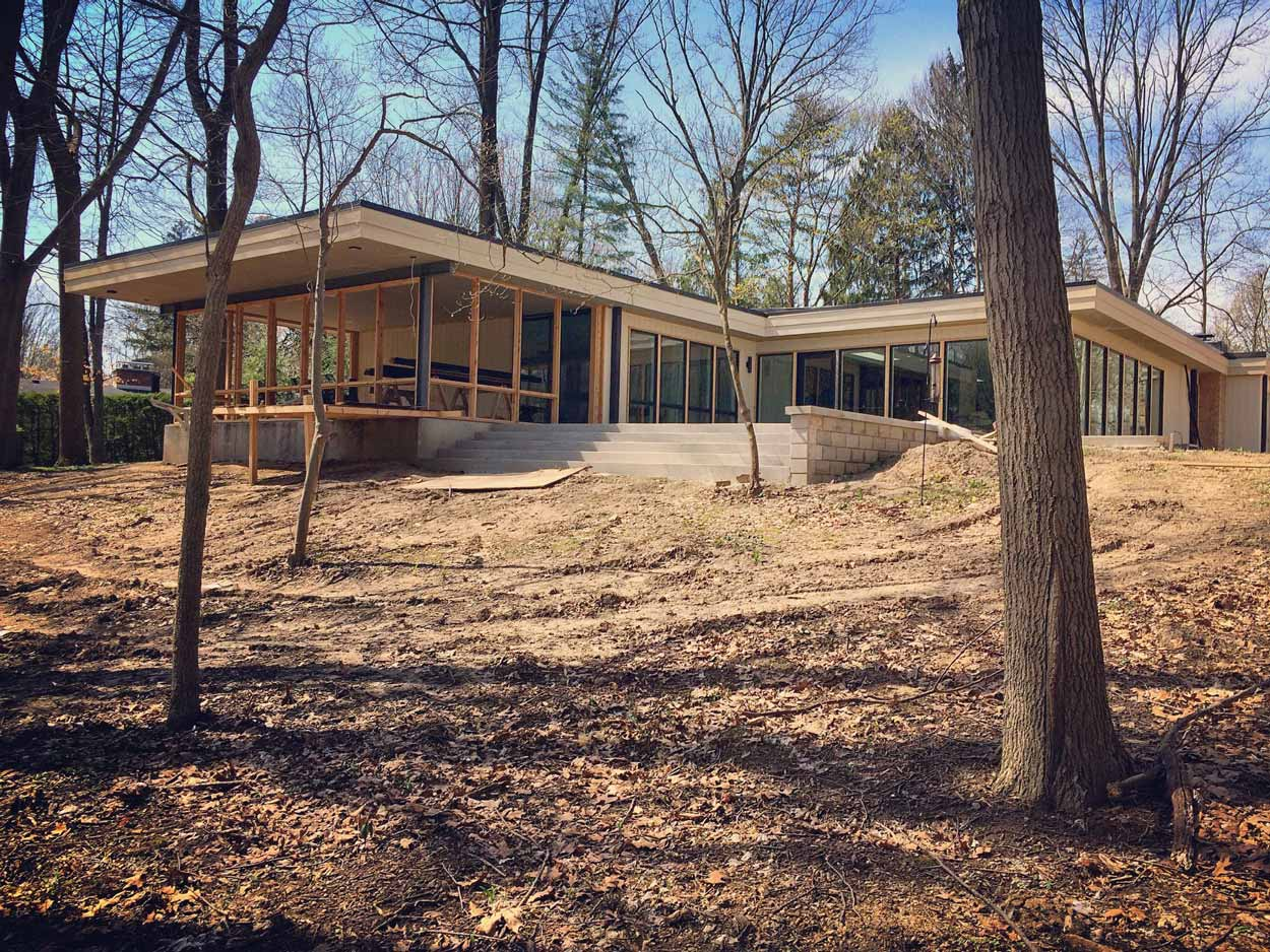 Midcentury Modern Renovation 2 - Exterior Progress (Midcentury Move In) - Christopher Short, Architect, Indianapolis, HAUS Architecture