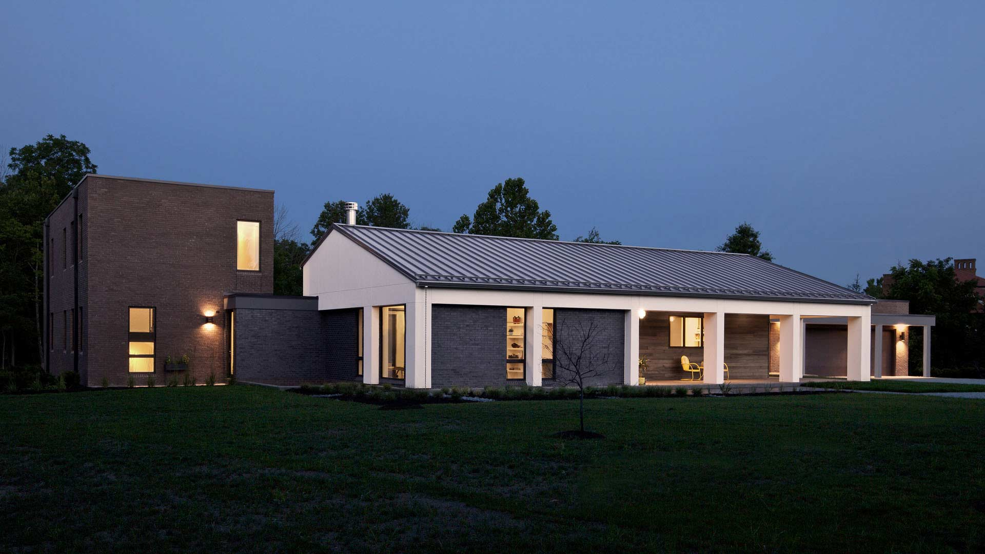New Modern House Ditch - Front Elevation - Christopher Short, Architect, Indianapolis, HAUS Architecture