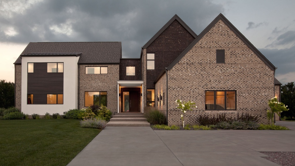 New Modern House Treesdale - Front Elevation - Christopher Short, Architect, Indianapolis, HAUS Architecture
