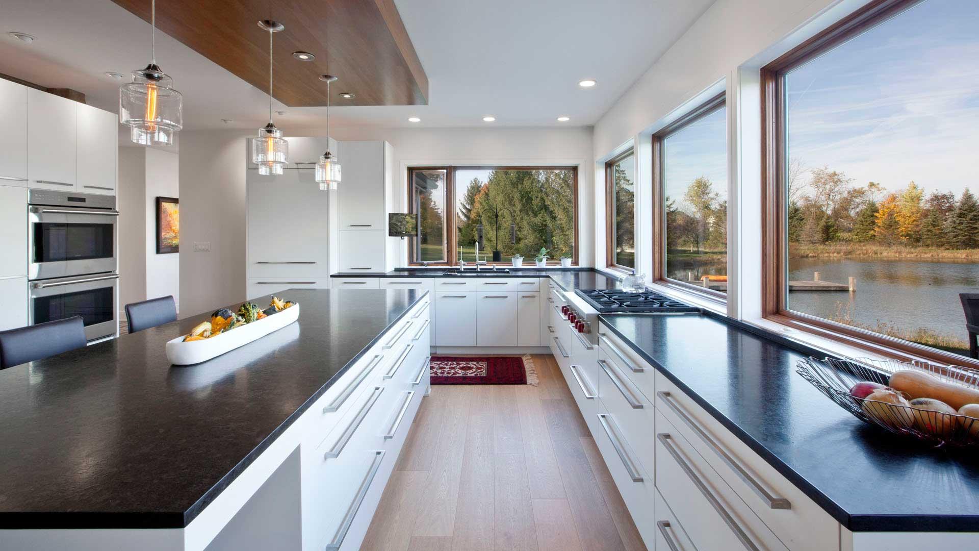 Scandinavian Rustic Cabin - Kitchen View - Christopher Short, Architect, Indianapolis, HAUS Architecture