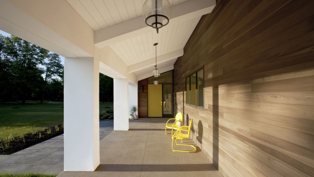 New Modern House Ditch - Entry Porch - Christopher Short, Architect, Indianapolis, HAUS Architecture