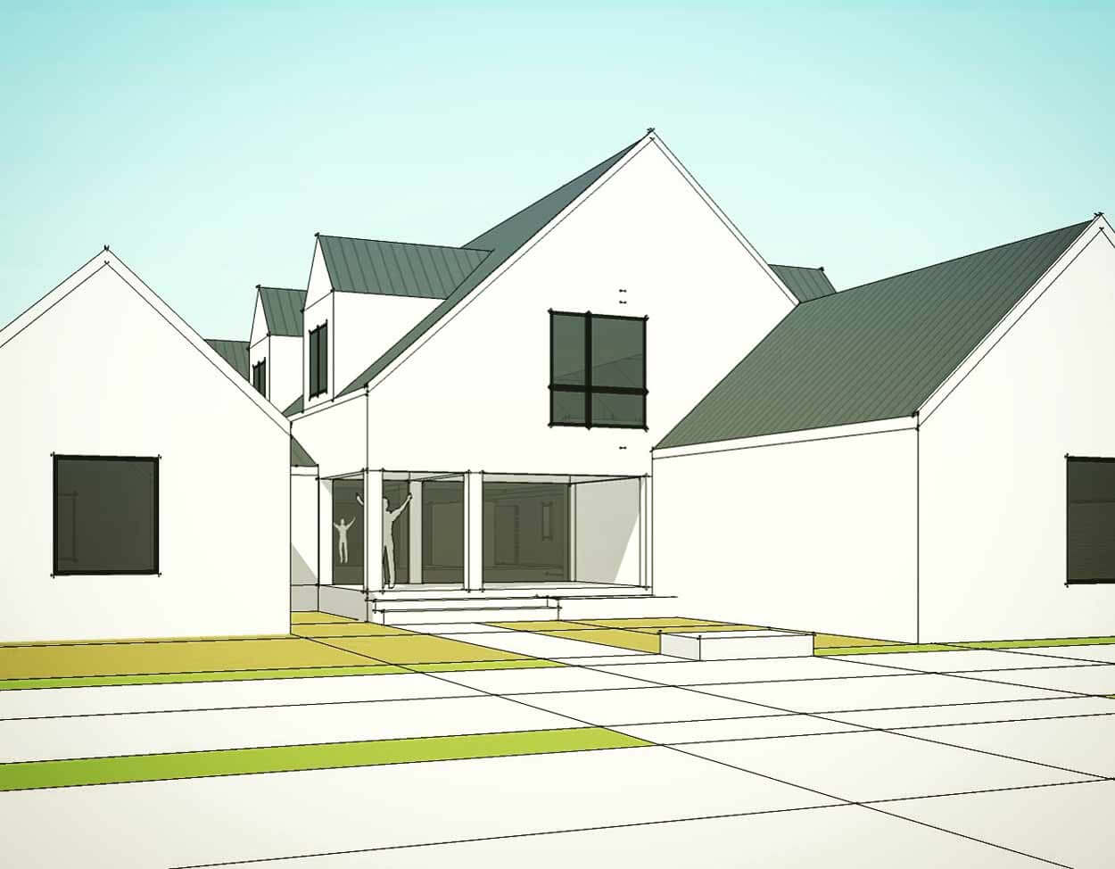 New Modern House Meridian Hills - SW Corner of 75th & Central - Indianapolis - HAUS Architecture - Christopher Short Architect