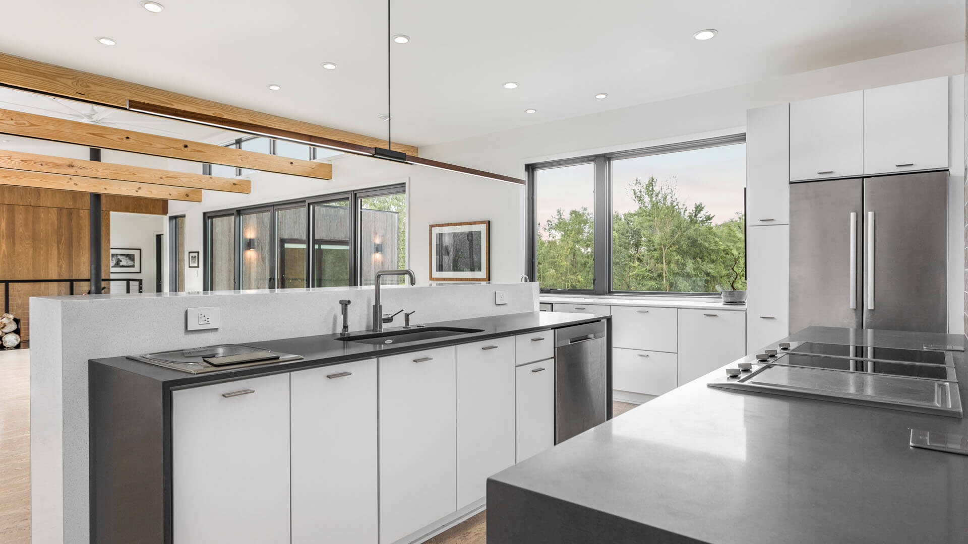 New Modern House 1 - Open Concept Kitchen - Christopher Short, Architect, Indianapolis, HAUS Architecture