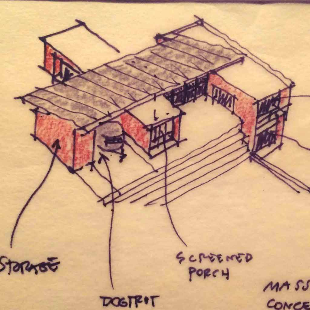 New Modern House 1 - Copperwood Residence, Zionsville - Architect Sketch - HAUS Architecture - Christopher Short