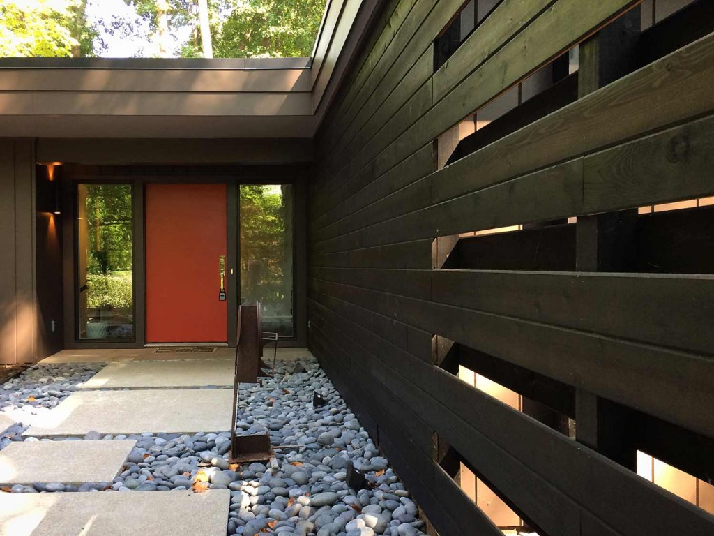 Midcentury Modern Renovation 2 - Outside In Entry Wall - Christopher Short, Architect, Indianapolis, HAUS Architecture (A2 Design)