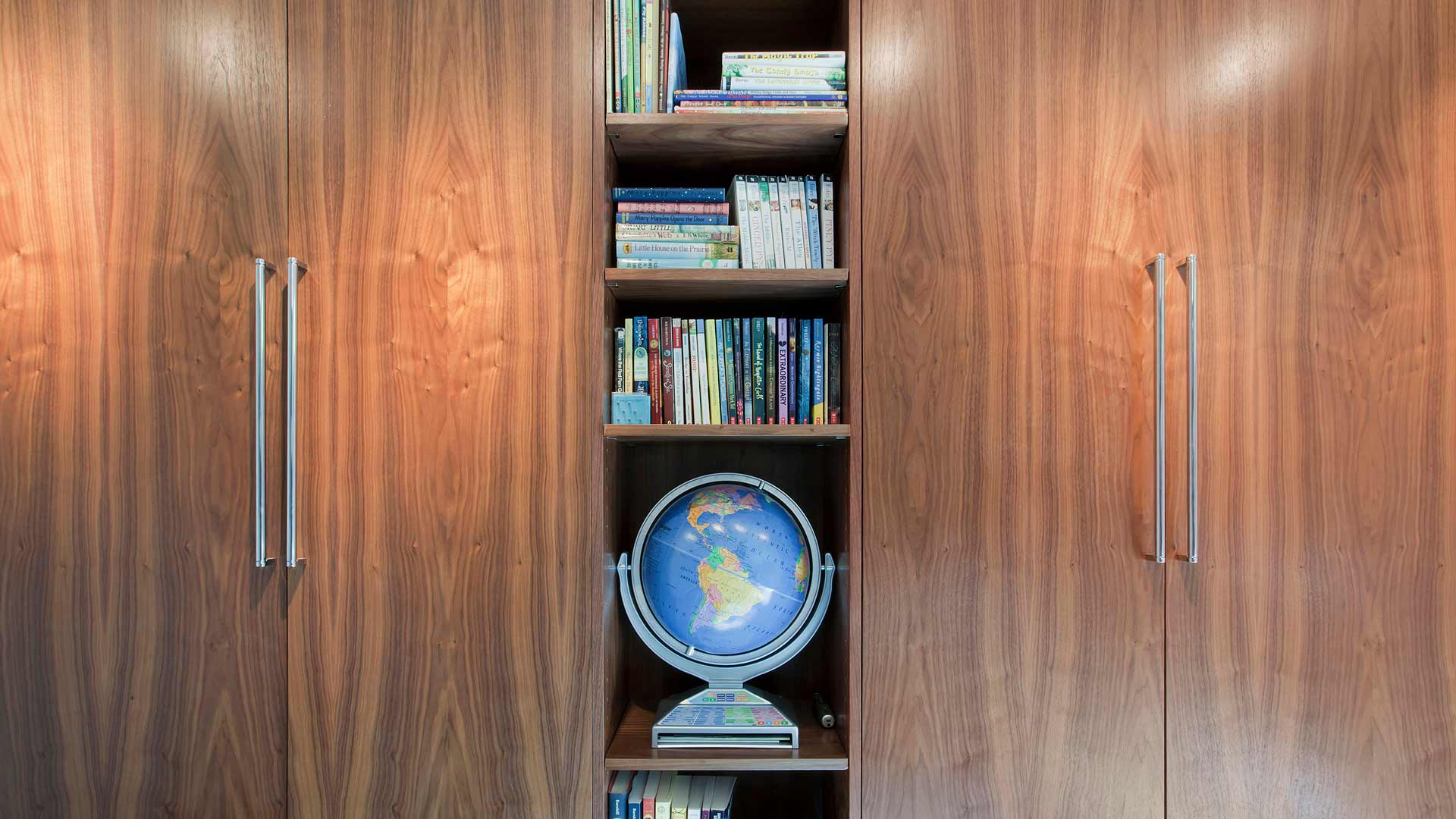 Custom Walnut Cabinetry Bedroom, Earth Globe, Bookshelves - Midcentury Modern Renovation - 81st Street - Indianapolis, Christopher Short, Architect, HAUS Architecture
