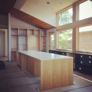 Custom Kitchen Island Construction - Cabinetry Green - John Hartman - Modern Lakehouse Lake Clearwater Indianapolis - Derek Mills, WERK Building Modern, HAUS Architecture For Modern Lifestyles