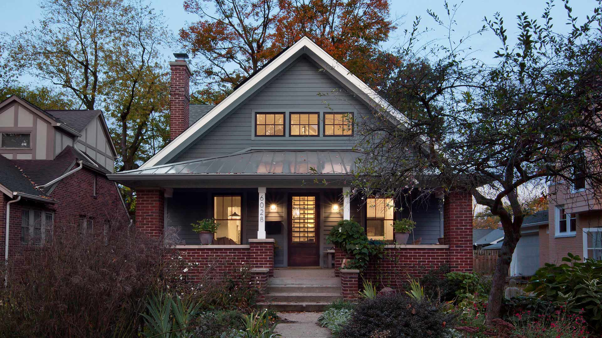 This newly reconstructed Modern Craftsman-style home maintains the scale and character of the streetscape while taking its design + detail game up a notch in this newly reconstructed Broad Ripple Modern Craftsman Dwelling on Carrollton Avenue - Indianapolis, Indiana, Christopher Short, Architect, HAUS Architecture + WERK | Building Modern