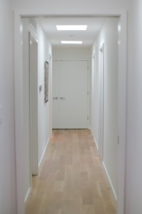Daylighting with skylights creates even light in hallway, wide plank white oak flooring, art on clean, white walls with minimal trims, - Midcentury Modern Renovation - 81st Street - Indianapolis, Christopher Short, Architect, HAUS Architecture, Jamie Sangar Photography