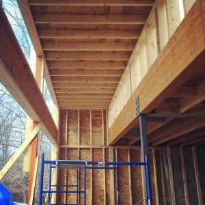 View of the south clerestory windows and raised ceiling - Lakeside Modern Cottage - Unionville, Indiana, Lake Lemon - Christopher Short, Derek Mills, Paul Reynolds, Architects, HAUS Architecture + WERK   Building Modern - Construction Managers - Architect Custom Builders