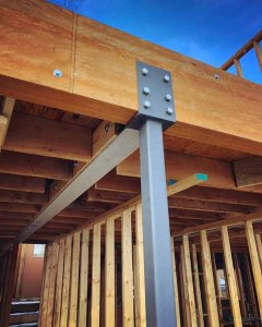 Steel beam and column do some heavy lifting to help achieve the new design concepts - Lakeside Modern Cottage - Unionville, Indiana, Lake Lemon - Christopher Short, Derek Mills, Paul Reynolds, Architects, HAUS Architecture + WERK | Building Modern - Construction Managers - Architect Custom Builders
