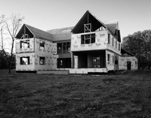 South progress view - great to see the roofs going-on and how the massing feels - Modern Colonial House - Towne Oak Estates, Steffe Drive, Carmel, Indiana - Christopher Short, Derek Mills, Paul Reynolds, Indianapolis Architects, HAUS | Architecture For Modern Lifestyles