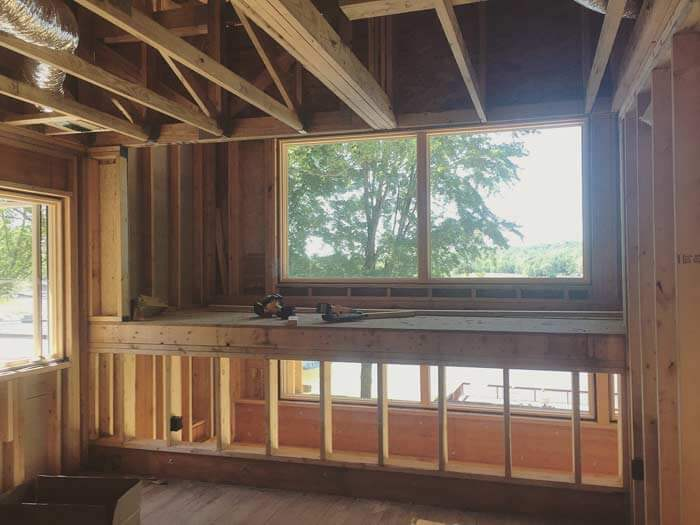 Bedroom Loft view from SE bedroom looking toward lake - Lakeside Modern Cottage - Unionville, Indiana, Lake Lemon - Christopher Short, Derek Mills, Paul Reynolds, Architects, HAUS Architecture + WERK | Building Modern - Construction Managers - Architect Custom Builders