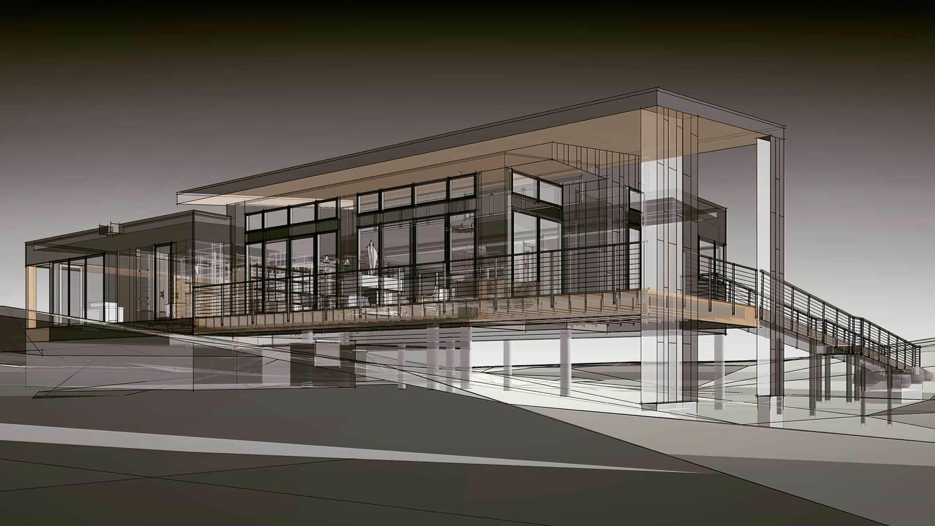 Bridge House, North Elevation, Douglas, Michigan - Lake Michigan - HAUS   Architecture For Modern Lifestyles, Christopher Short, Indianapolis Architect, Tom Rigney, TR Builders