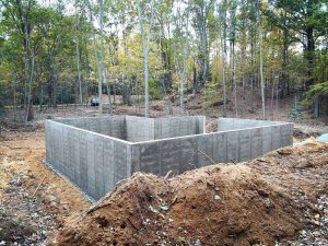 Bridge House, Garage + Basement foundation walls completed looking SSW, Douglas, Michigan - Lake Michigan - HAUS | Architecture For Modern Lifestyles, Christopher Short, Indianapolis Architect, Tom Rigney, TR Builders