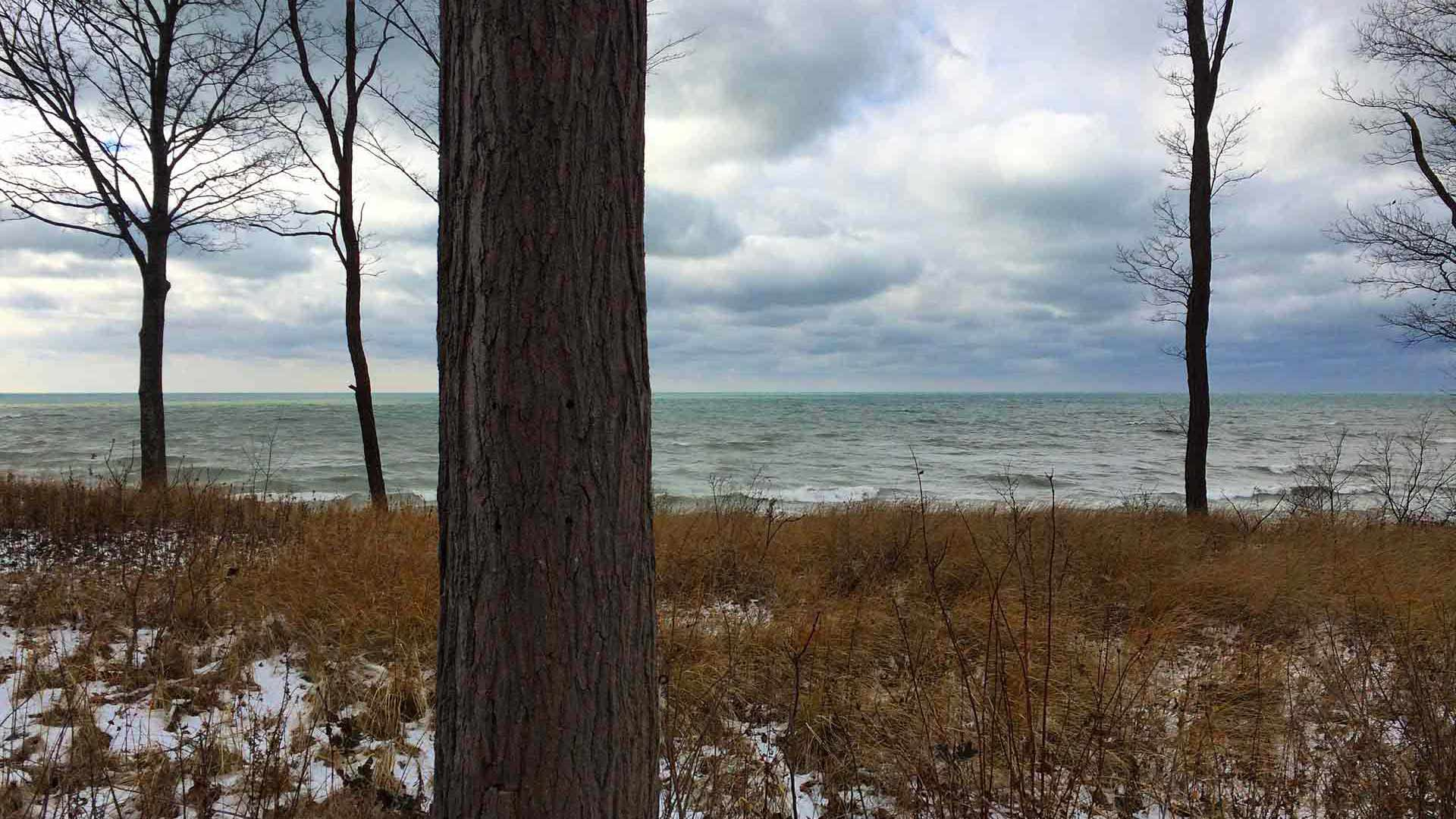 Bridge House PreConstruction Site Visit 2 (December 2017) - This Lake Michigan lakefront photo is taken about 1/4 mile from the Bridge House site location - Douglas, Michigan - Lake Michigan - HAUS | Architecture For Modern Lifestyles, Christopher Short, Indianapolis Architect, Tom Rigney, TR Builders