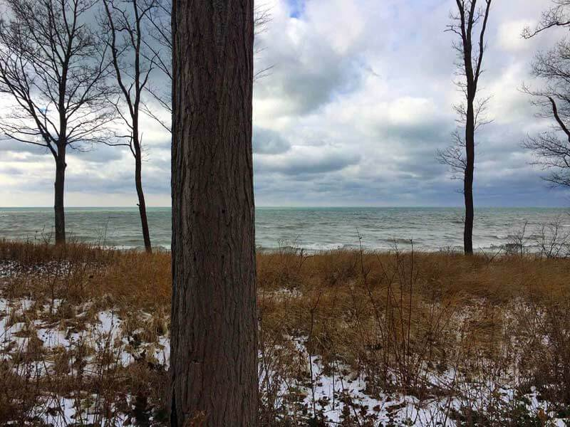 Bridge House PreConstruction Site Visit 2 (December 2017) - This Lake Michigan lakefront photo is taken about 1/4 mile from the Bridge House site location - Douglas, Michigan - Lake Michigan - HAUS   Architecture For Modern Lifestyles, Christopher Short, Indianapolis Architect, Tom Rigney, TR Builders