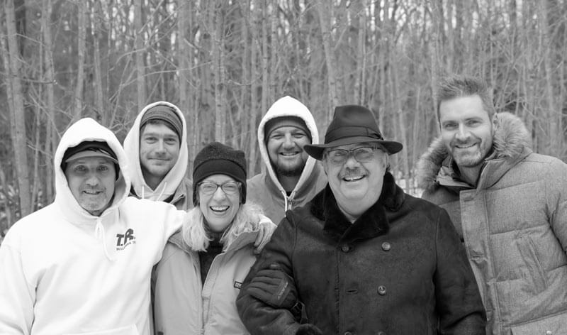 Bridge House PreConstruction Site Visit 2 (December 2017) Team Photo, Owners (center), Builders (Left), Architect (right) - Douglas, Michigan - Lake Michigan - HAUS   Architecture For Modern Lifestyles, Christopher Short, Indianapolis Architect, Tom Rigney, TR Builders