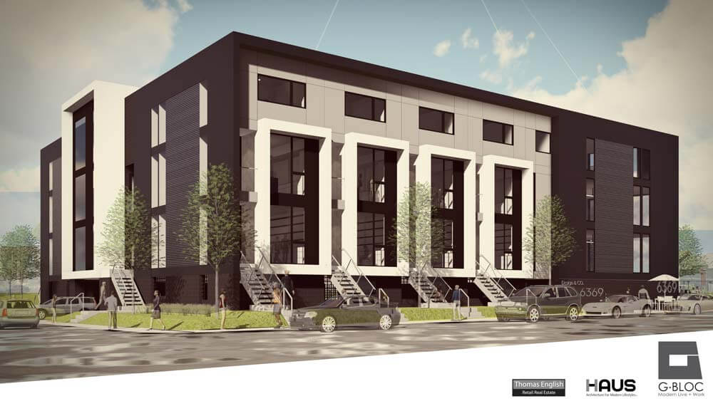Southwest Corner Early Scheme (June 2016) - G BLOC MIXED USE Development - Broad Ripple North Village - Urban Infill - Indianapolis - Christopher Short, Indianapolis Architect, HAUS Architecture For Modern Lifestyles, WERK | Building Modern, Thomas English Retail Real Estate
