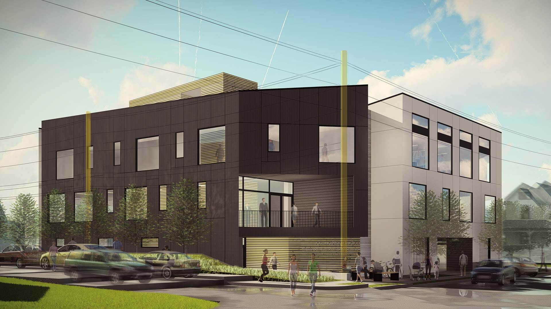 Northeast Corner Design Development (Dec 2017) - G BLOC MIXED USE Development - Broad Ripple North Village - Urban Infill - Indianapolis - Christopher Short, Indianapolis Architect, HAUS Architecture For Modern Lifestyles, WERK | Building Modern, Thomas English Retail Real Estate