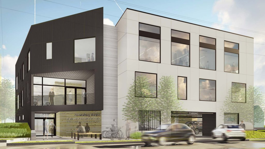 Main Building Entrance North Elevation Design Development (Dec 2017) - G BLOC Modern Live + Work MIXED USE Development - Broad Ripple North Village - Urban Infill - Indianapolis - Christopher Short, Indianapolis Architect, HAUS Architecture For Modern Lifestyles, WERK | Building Modern, Thomas English Retail Real Estate