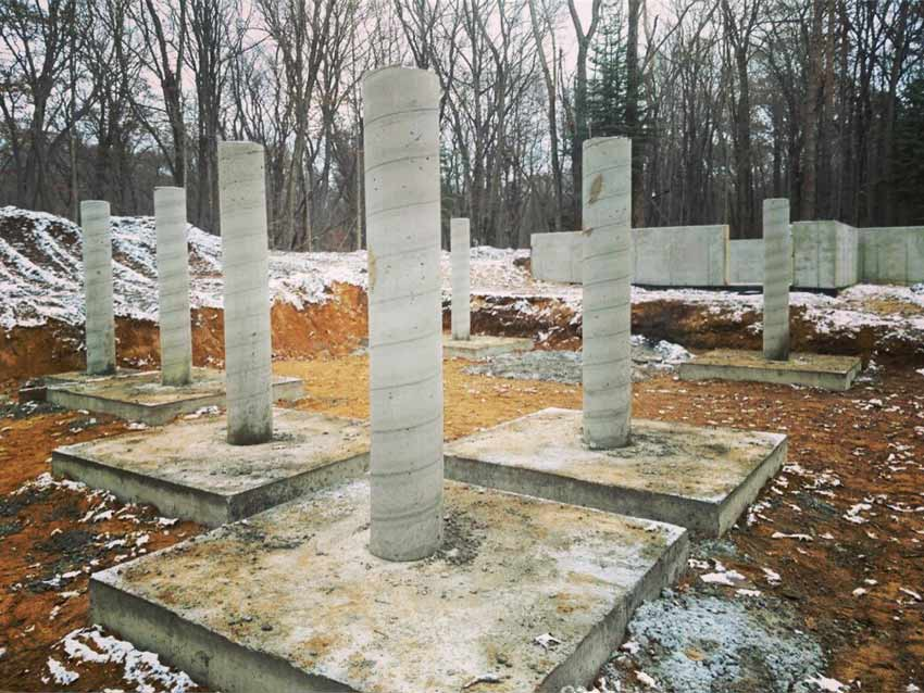 Concrete Piers Complete (ready for backfill - looking northeast) - Bridge House - Douglas, Michigan - Lake Michigan - HAUS   Architecture For Modern Lifestyles, Christopher Short, Indianapolis Architect, Tom Rigney, TR Builders