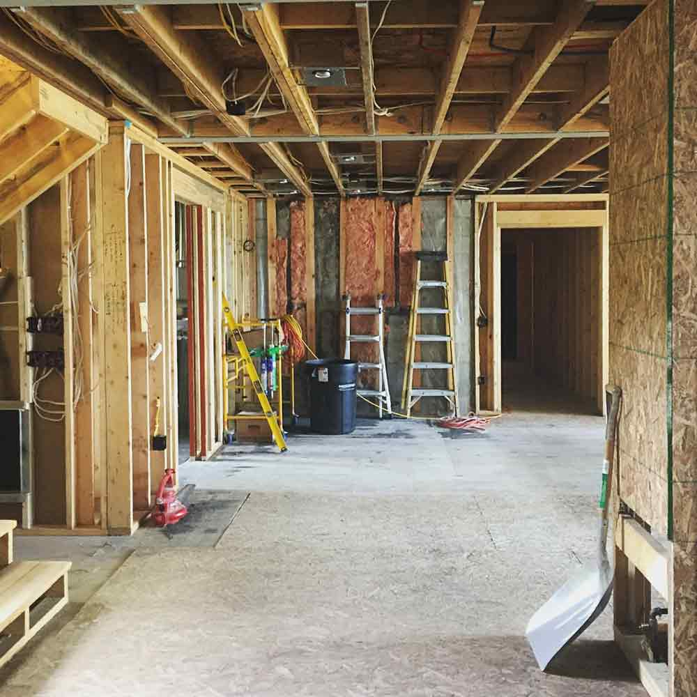 Interior Rough-Ins Progressing - Lakeside Modern Cottage - Unionville, Indiana, Lake Lemon - Christopher Short, Derek Mills, Paul Reynolds, Architects, HAUS Architecture + WERK | Building Modern - Construction Managers - Architect Custom Builders